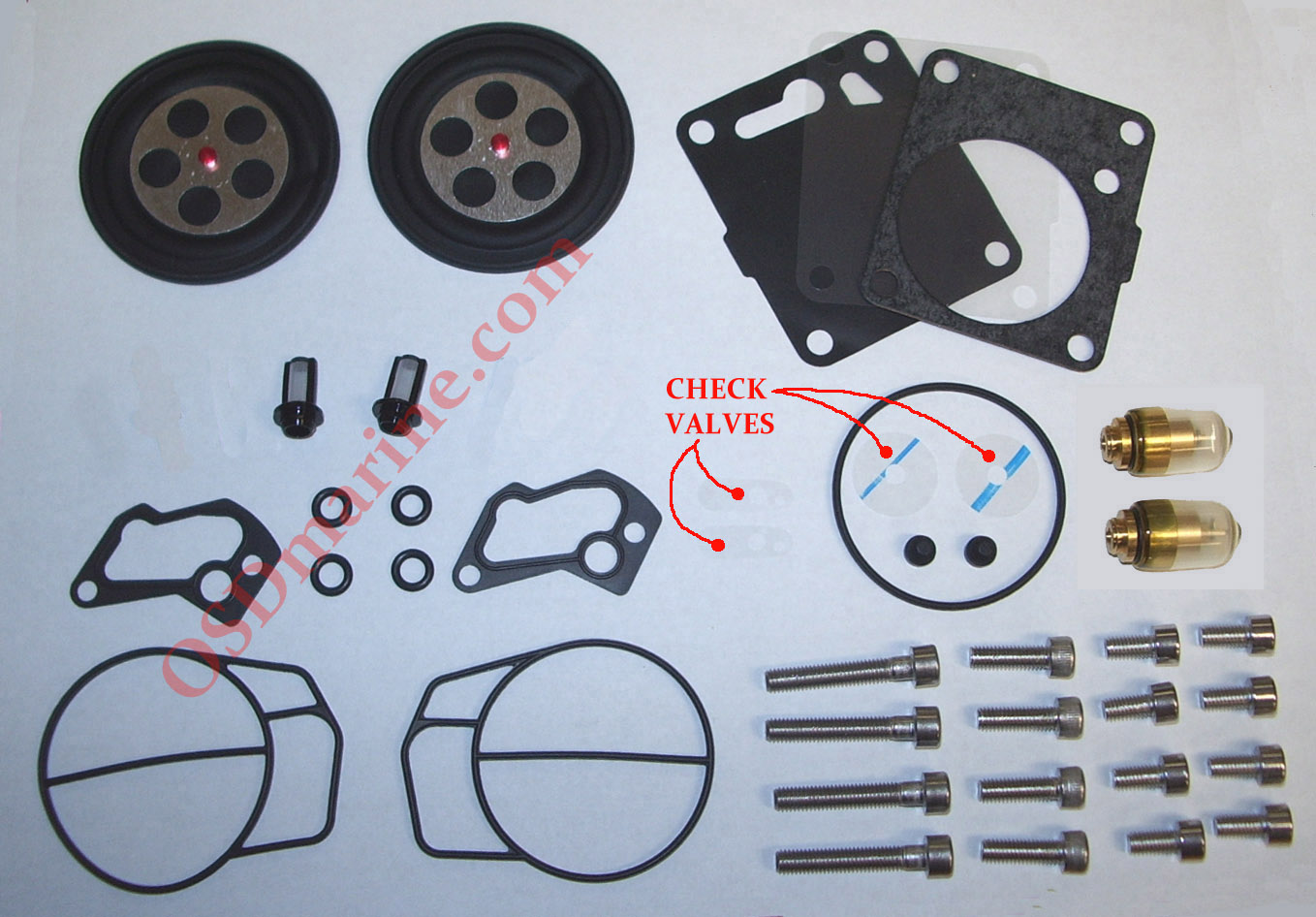 "NEW! OSD ""BTO"" + FUEL PUMP Sea Doo Dual Carb Rebuild Kit (1991-1996 587 657)"