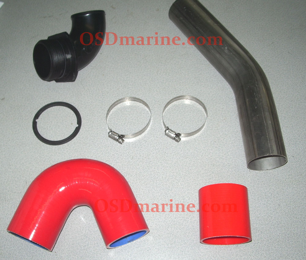 "OSDmarine Sea Doo SPARK 2.5"" Free Flow Exhaust Kit (Fits 2 & 3 Up) - RED HOSE"