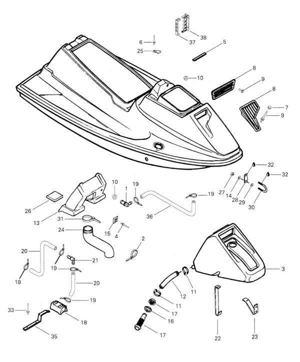 1993 Sp Spx Spi Sea Doo Yamaha Kawasaki Polaris Parts